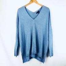 Ann Taylor Women's Pullover Sweater Medium M Wool Blend V Neck Blue Tunic - $29.68