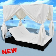 Sun Bed Lounger Rattan Garden Daybed Outdoor Curtains Canopy Shade Furni... - $496.88