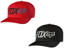 NEW AUTHENTIC FOX RACING MEN'S FITTED BLACK RED FLEXFIT TECH CAP HAT 15638 - $18.77