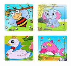 PANDA SUPERSTORE Set of 4 Lovely Animal Jigsaw Puzzles Infant Puzzles Toys (Cert