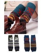 Knitted Reindeer Leg Warmers Knee High Warm Socks CHRISTMAS GIFTS - $7.99
