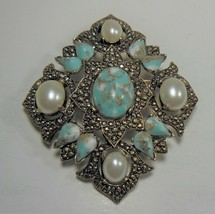 "Vintage SARAH COVENTRY ""REMEMBRANCE PIN"" Faux Turquoise Pearl Gold Tone ... - $17.81"