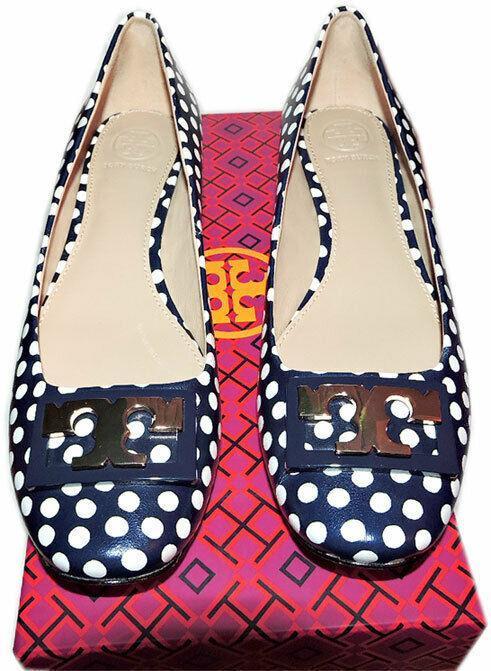 Tory Burch ' Gigi ' Gold Logo Low Heel Pumps Polka Dot Navy Shoes 10.5