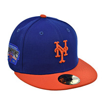 New Era New York Mets 59Fifty Men's Fitted Hat Cap Navy Blue-Orange - £20.03 GBP