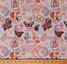 Butterfly Butterflies Insects Sketches Girls Cotton Fabric Print BTY D36... - $10.95