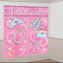 5 pc GIANT Princess Birthday Scene Setter Wall Decorating Kit 6 ft tall - $10.18