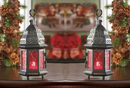 """2 Moroccan Style Candle Lanterns e/ Red Pressed Glass & Lacy Cutouts 10""""... - $25.69"""