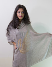 Beige & Gold Crystal Duck Pure Wool Shawl Stole Scarf - $30.00