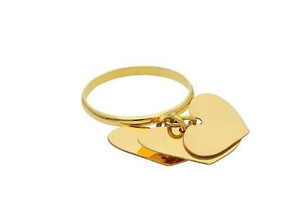 18K YELLOW GOLD RING WITH 3 HEART PENDANT CHARMS BRIGHT, LUMINOUS, MADE IN ITALY