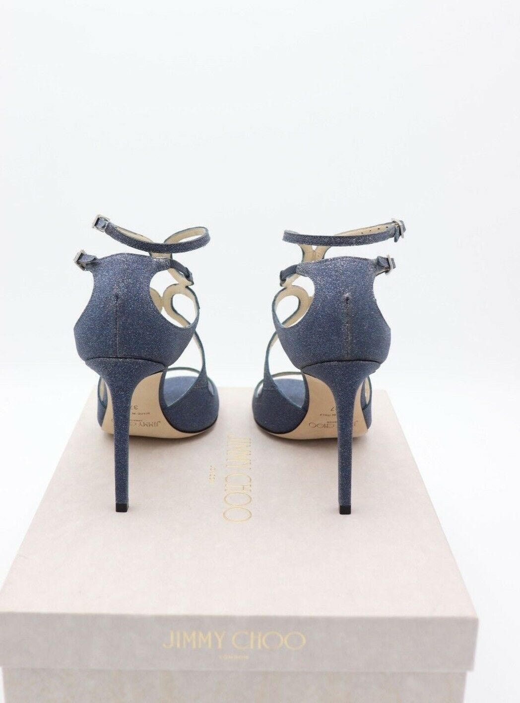 Neu in Box Jimmy Choo Lang Marineblau Fein Glitzer Leder Sandalen Absatz 7 37
