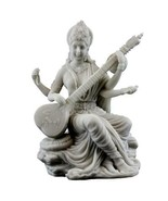 "SARASWATI STATUE 5.75"" Hindu Goddess White Marble Finish Resin Seated Deity - $49.95"