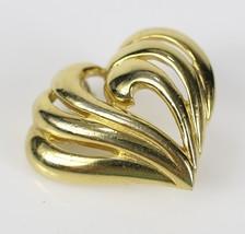 "Vintage Gold Tone Openwork Heart Signed "" NAPIER "" Brooch Costume Jewelr... - $7.66"