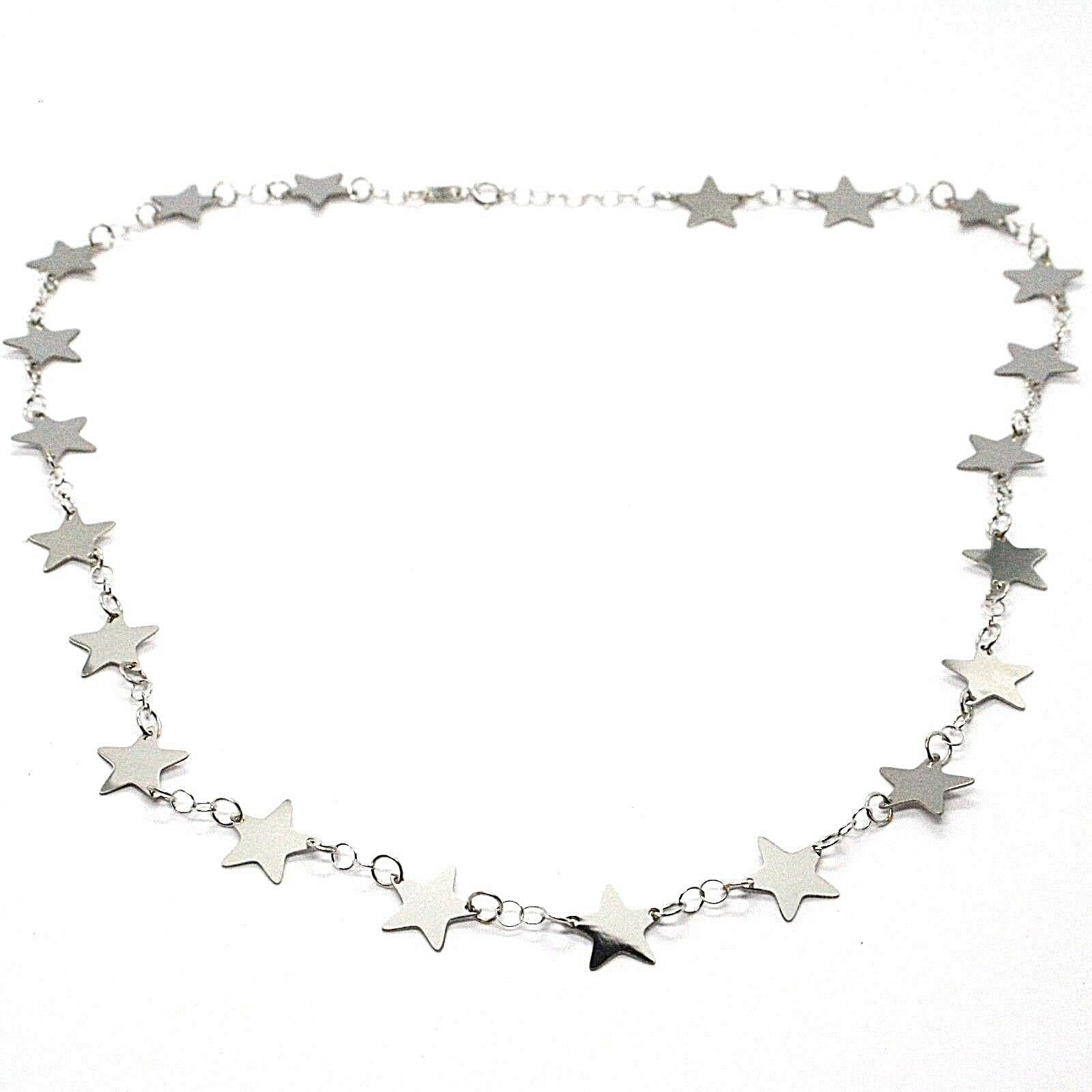 18K WHITE GOLD NECKLACE, FLAT STARS, STAR, 16.5 INCHES, MADE IN ITALY