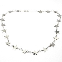 18K WHITE GOLD NECKLACE, FLAT STARS, STAR, 16.5 INCHES, MADE IN ITALY image 1