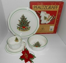 21 P Pfaltzgraff Christmas Heritage Dinner Plates Bowls Cup Saucer Lot Tree Tray - $148.40
