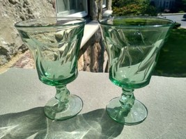 "2 Vintage Fostoria Jamestown Green   Water Goblets 5 7/8"" Tall,  - $11.49"