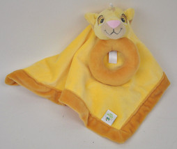 Simba Disney Yellow The Lion King Security Blanket Lovey Rattle Plush Ring - $14.80