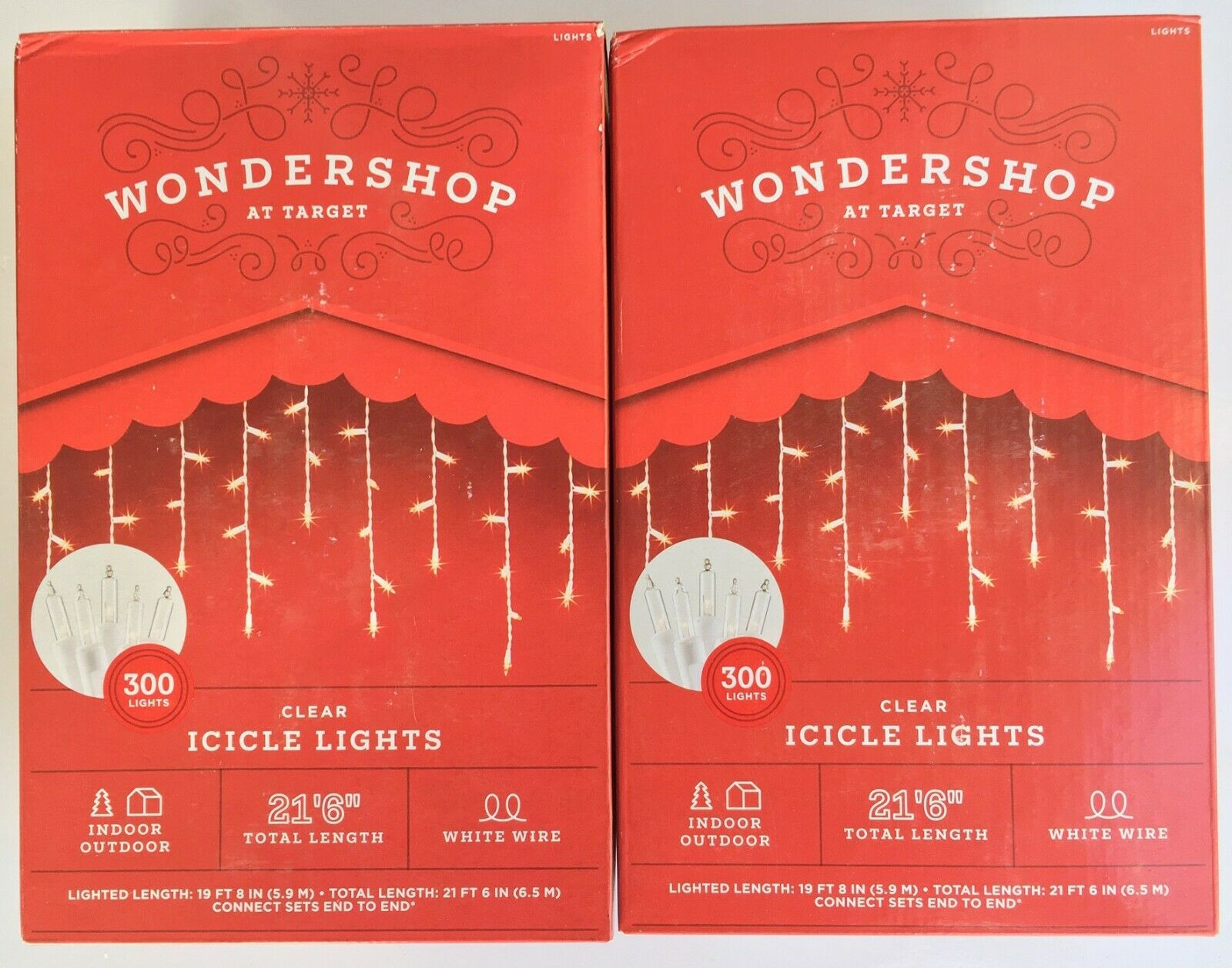 2X 300ct Christmas Incandescent Icicle Lights Clear with White Wire - Wondershop