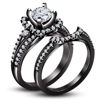 Bridal Set Ladies 10K Black Gold Over Round Diamond Engagement Wedding R... - $106.37