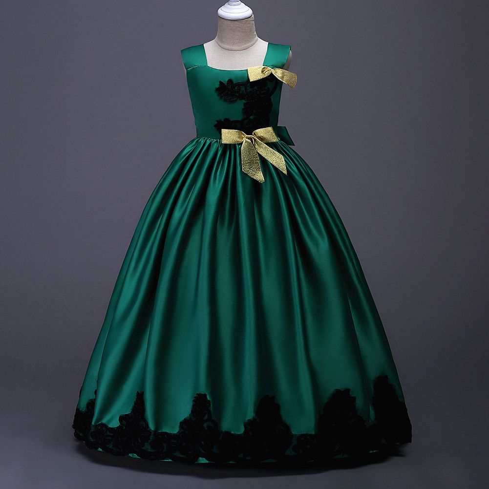 New Arrival Green Satin Flower Girl Dress Wedding Pageant Party Gowns A Line