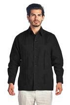 Men's Premium Cuban Beach Long Sleeve Button Up Linen Guayabera Dress Shirt image 2