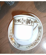 Nippon Hand Painted Cup & Saucer Green Crown Stamp Beautiful Heavy Gold Gilt  - $25.19