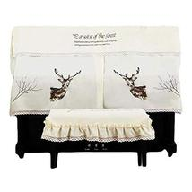 Elk Embroidery Piano Dust Cover Piano Chair Cover Dustproof Piano Cover