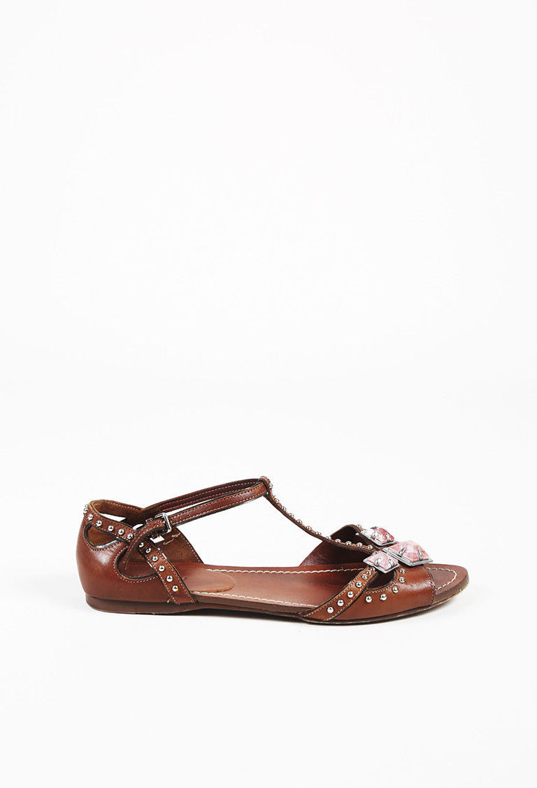 Miu Miu Brown Leather Embellished T Strap Sandals SZ 37.5