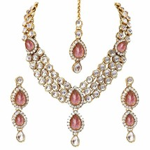 Latest Design Gold Plated Kundan Wedding Party Wear Necklace Jewellery set a356 - $19.79