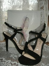 ~NEW~Jessica Simpson~BRIGID~Black Micro-suede~Ankle Strap Sandal~SIZE 9 ... - $26.88