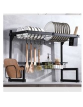 New Stainless Steel Over the Sink Dish Drying Rack - Black - $51.00