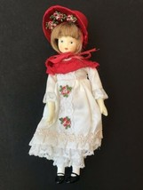 vintage House of Hatten Doll White Dress Victorian Lace Red Hat girl - $21.77