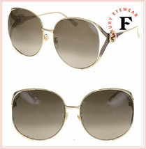GUCCI 0225 Gold Blue Stripe Brown Fashion Oversized Metal Sunglasses GG0... - $341.55