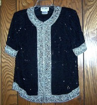 Sz Small - Brilliante by J.A. Sequined & Beaded Short Sleeve Top - $71.25