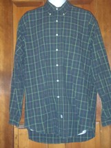 LARGE L RALPH LAUREN MENS CLASSIC FIT GREEN BLUE PLAID LONG SLEEVE SHIRT - $22.22