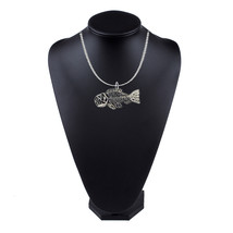 Fossil Fish Pewter Emblem on a 18 inch platinum chain necklace jewelry codeTS314 - $13.10
