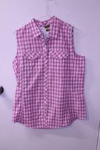 Women's Eddie Bauer M Pink Plaid Tank Top Button Up - $14.01