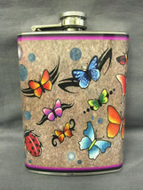 Butterfly Colorful Art Flask 8oz Stainless Steel Drinking Whiskey Cleara... - $9.90