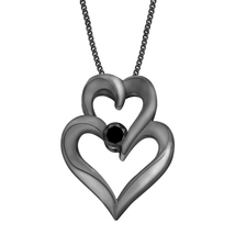 0.10Ctw Double Heart Pendant 18k Black Gold Fi... - $55.88