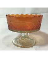 Vintage Peach Sherbet/Nut Dish Crackled Footed Bowl Peacock Tail - $14.99