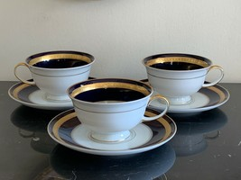Rosenthal Germany Eminence Cobalt Blue and Gold Cup and Saucers Set of 3 - $119.00