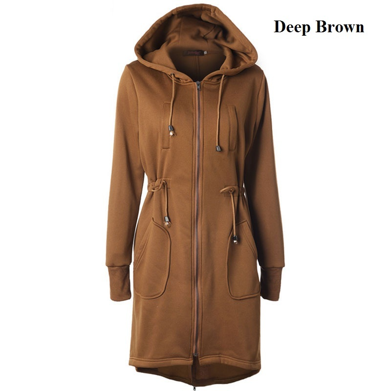 2017 Winter Long Hoodies Straight Drawstring Jackets Cotton Thick Size S-2XL