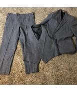 Hart Schaffner & Marx Grey 3 Piece Wool Suit Designed by Christian Dior - $29.69