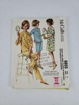 Vtg 60s McCall's 6655 3/4 & Short Sleeve Pajamas Nightshirt Gown Junior ... - $14.00