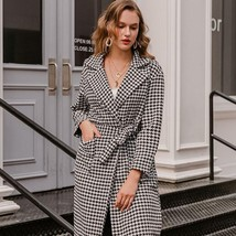 Women New Fashion Houndstooth Wool Blended Trench Coat Belt with Pocket