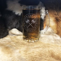 Viking Double Axe Rune Circle Viking Engraved Beer Mug Glass, Laser Engr... - $12.99