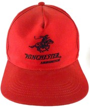 Winchester Ammunition Vintage Snapback Cap Hat Red Made in USA - $18.80