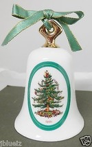 Spode Christmas Tree Bell Porcelain Lovely Decoration Winter Holiday - $23.36