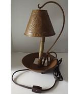 Candlestick Electric Table Lamp Metal Shade Candle Pan Base Primitive Mu... - $48.35