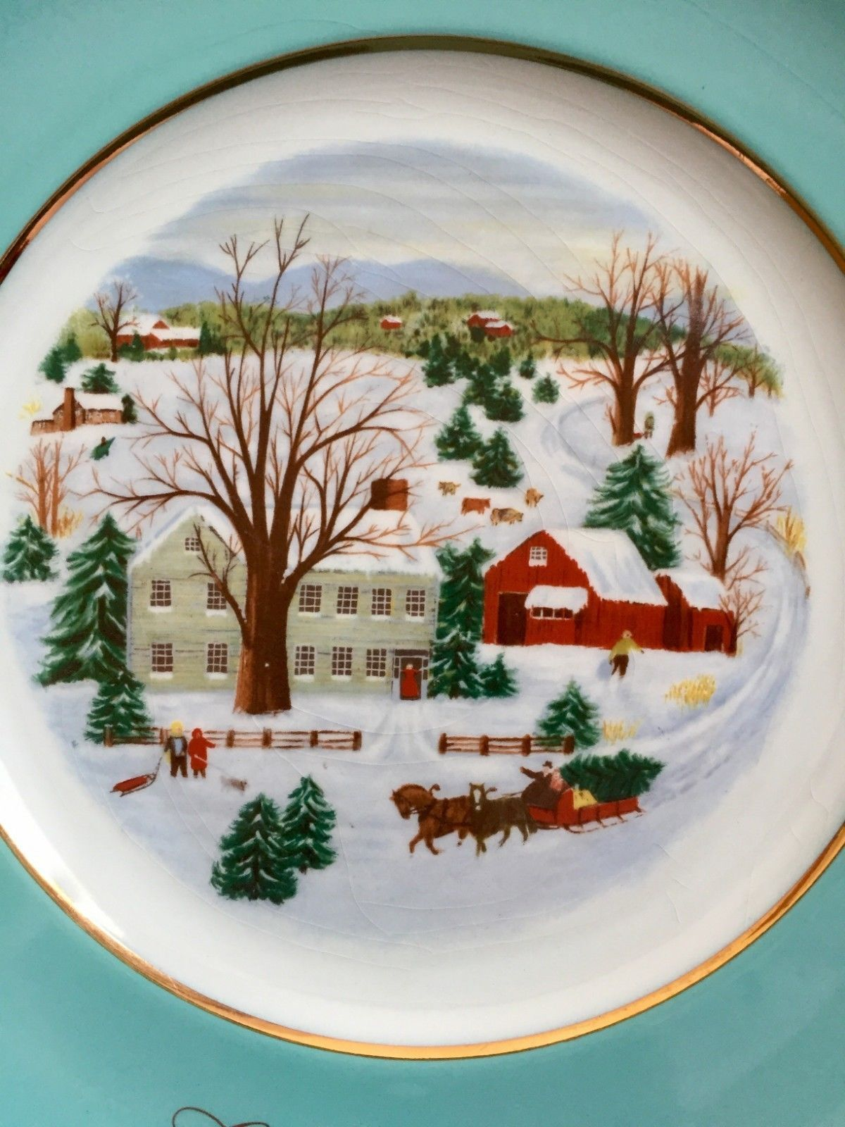 Avon Plate 1973 Christmas On The Farm Turquoise Border Gold Trim Enoch Wedgewood